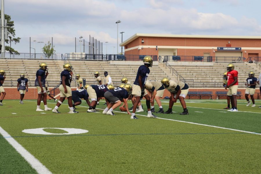 The Spartanburg Viking football team at practice, preparing for their season, despite the pandemic.