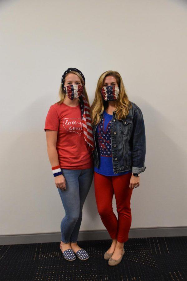 Teachers Kelli Foster and Mandy Loudermilk show their spirit for Merica Monday.