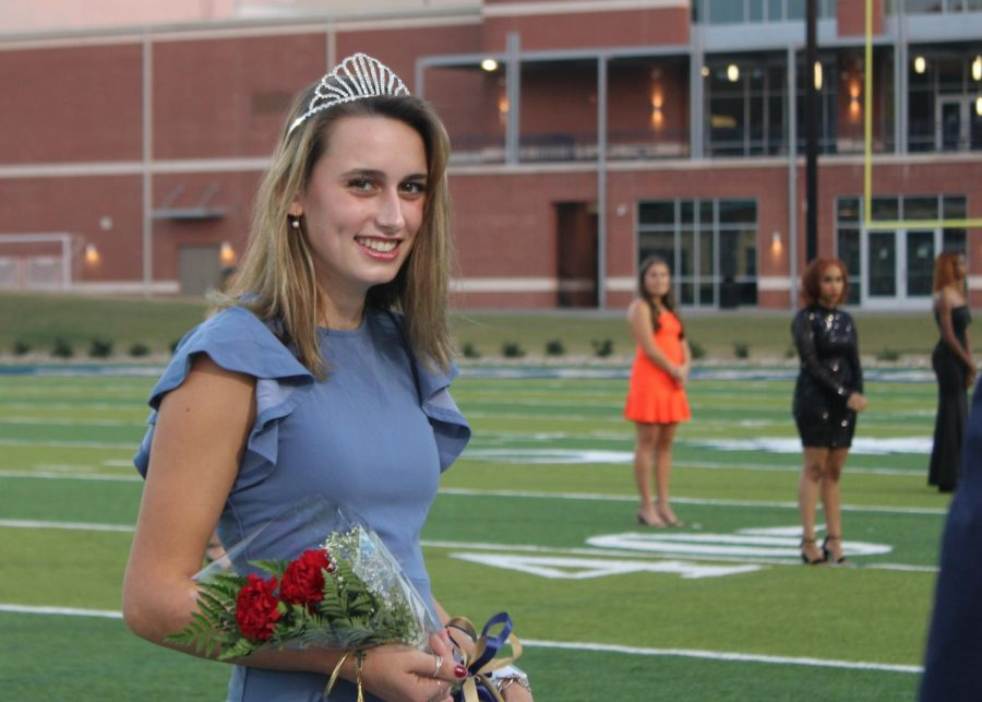 Catherine Karn (12) is overcome with emotion after her runner-up finish for Homecoming Queen.