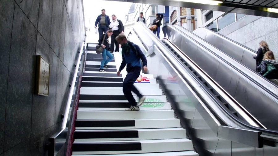 Volkswagen%27s+piano+staircase+experiment+resulted+in+a+66%25+increase+in+the+amount+of+commuters+who+take+the+stairs.+