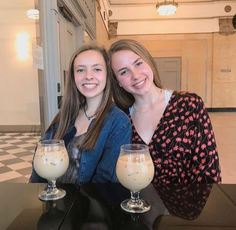 Emily Daniel (12) and Grace Till (12) enjoy iced coffee at Pharmacy Coffee, Little River