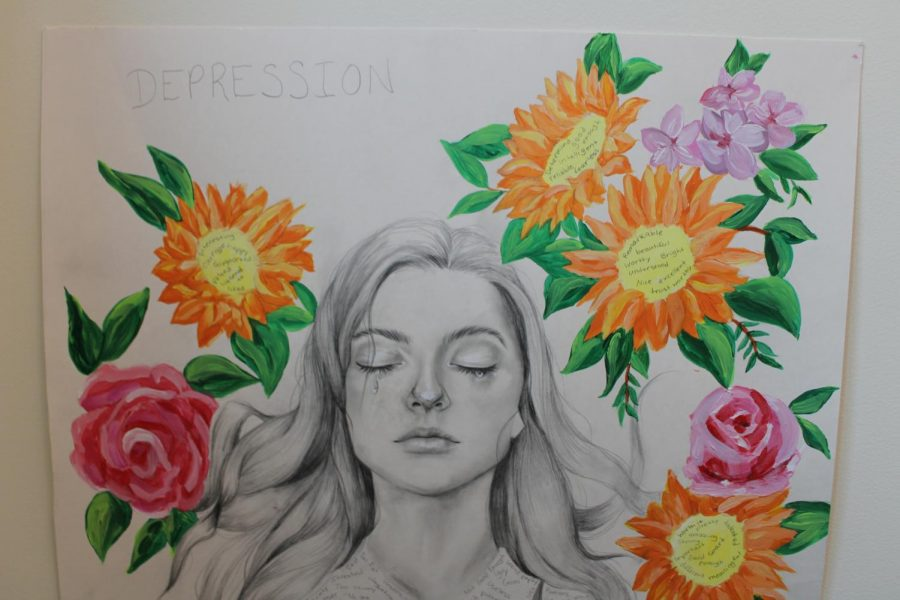 A student-made poster colorfully displays awareness for depression.