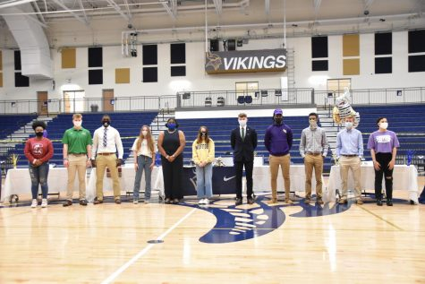 Viking student-athletes ready to sign their letters of intent to play at various colleges and universities.