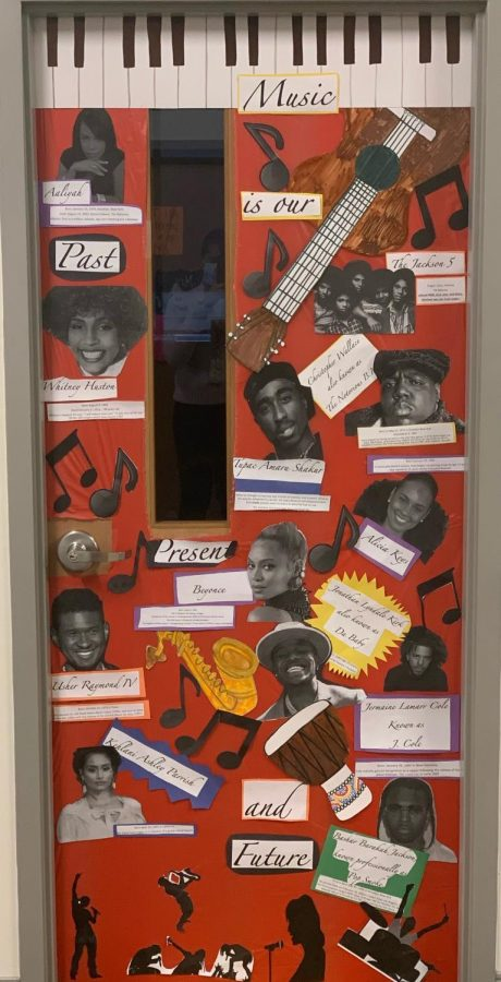 English teacher Stephanie Dawkins and her class was the winner of the Black History Month Door Decoration contest.