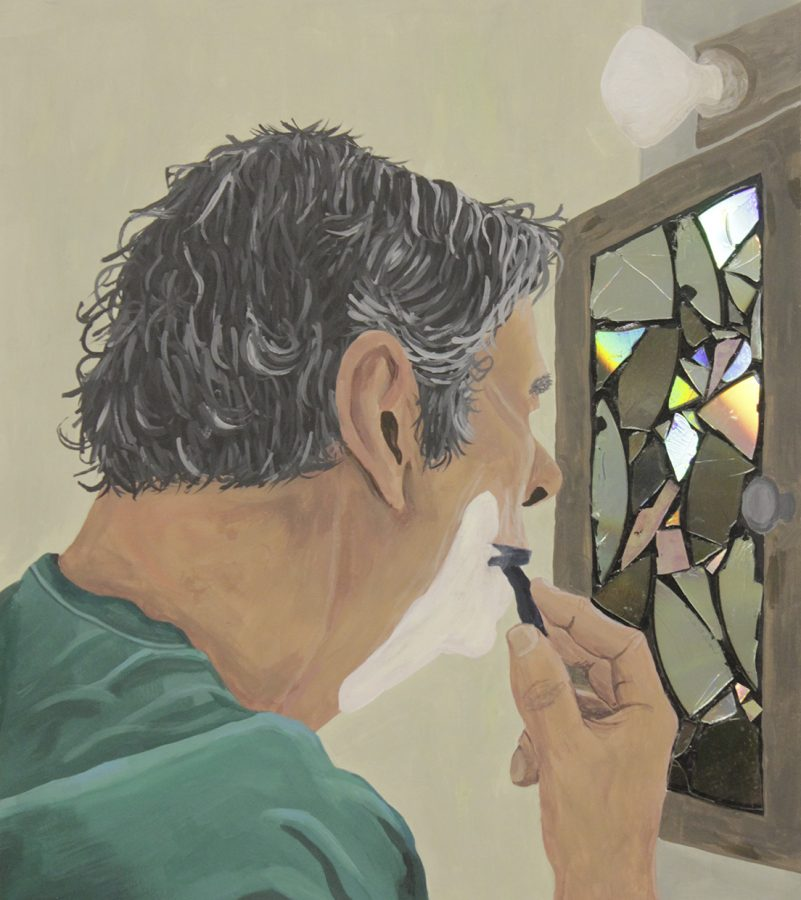 Lydia Vereens Shaving Time portrays an older man shaving in front of a kaleidoscope-like mirror.