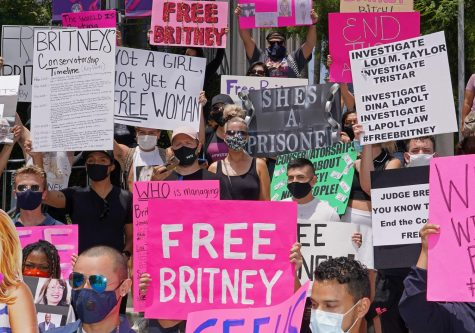 Supporters of Britney protest in Los Angeles in support of her release from oppressive conservatorship.