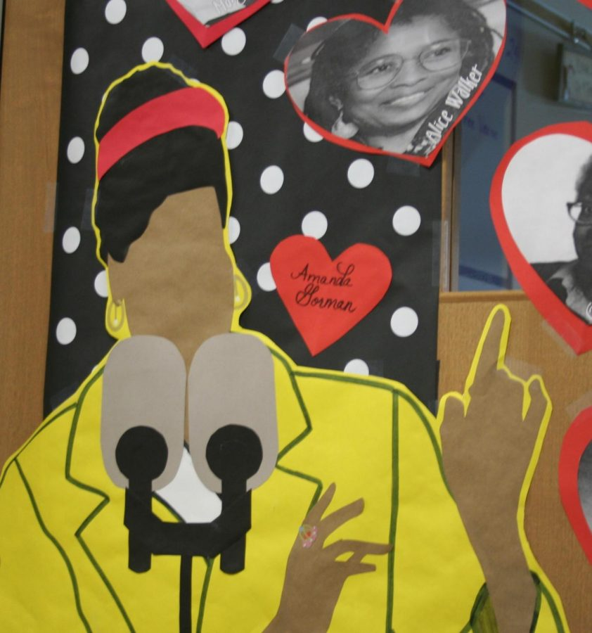 Shealy Dominick's door decorations featured an image of Gorman during her speech at the Presidential inauguration