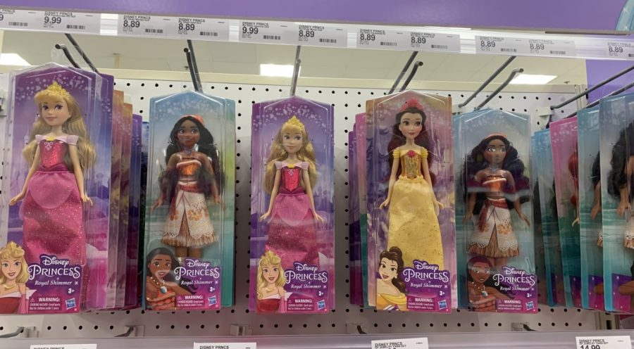 Princess dolls displayed at Target allow children to interact with their favorite characters.