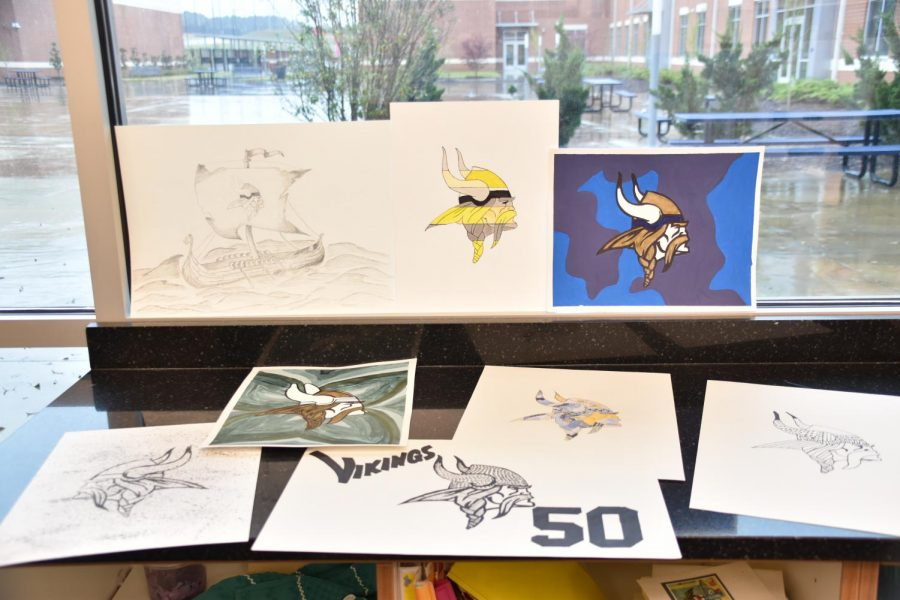 Student artists displayed their vision for celebrating the Vikings 50th birthday.