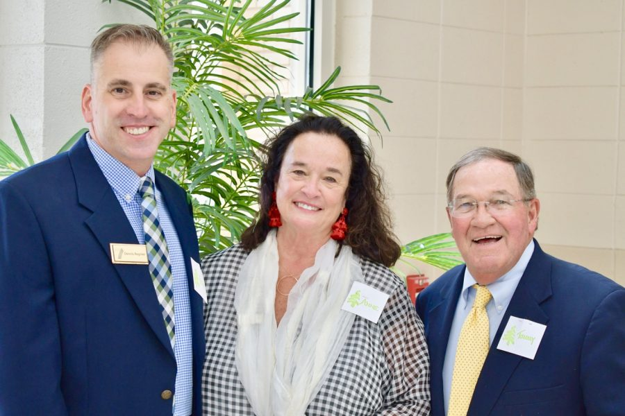 Current and former principals Dennis Regnier, Ann Jeter and Tommy Stoked (pictured right to left) smile at the ceremony where the scholarships dedicated to a Pine Street Elementary grad were unveiled.