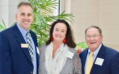 Current and former principals Dennis Regnier, Ann Jeter and Tommy Stokes (pictured left to right) smile at the ceremony where the scholarship dedicated to a Pine Street Elementary School grad was unveiled.