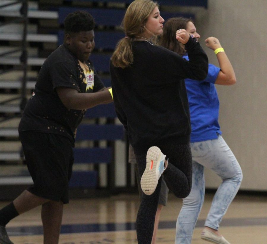 Students dance in the Viking Arena during Fun Lunch.