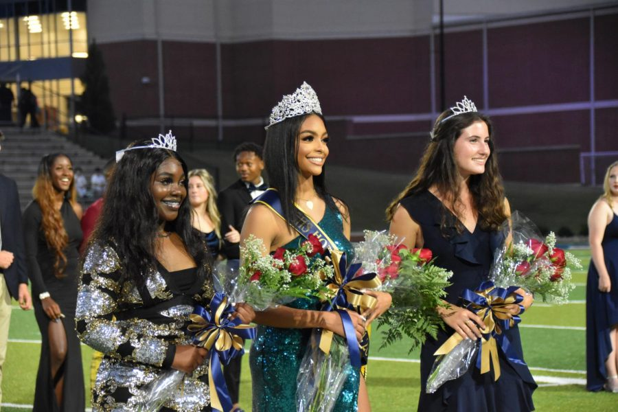 Homecoming Queen London Atchison (12) and her Honor Attendants, Tyreyonna Baker (12) and Annie Colbath (12)